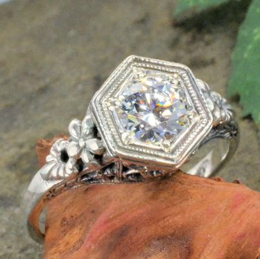 Antique Style Sterling Silver Filigree 5.5mm Round Shaped Ring Setting