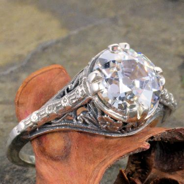Antique Style Filigree 9.0mm Round Shaped Ring Setting