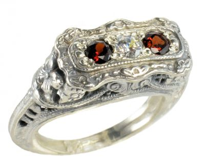 Art Deco Style Sterling Silver Filigree 3.0mm Three Stone Round Shaped Ring Setting