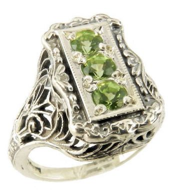 Art Deco Style Filigree 3.0mm Three Stone Round Shaped Ring Setting
