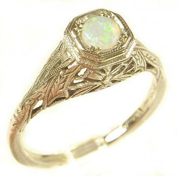 Antique Style Sterling Silver Filigree 4.0mm Round Shaped Ring Setting