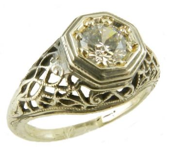 Antique Style Sterling Silver Filigree 5.0mm Round Shaped Ring Setting