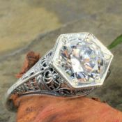 Antique Style Sterling Silver Filigree 9.0mm Round Shaped Ring Setting