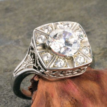 Art Deco Style Sterling Silver Filigree 7mm & 8)2mm Round Shaped Ring Setting