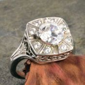 14k White Gold Art Deco Style Filigree 1.50cttw Cubic Zirconia Princess Ring