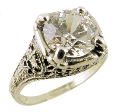 Antique Style Sterling Silver Filigree 8.0mm Round Shaped Ring Setting