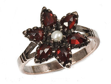 Sterling Victorian Style Rose Cut Bohemian Garnet & Pearl Star Cluster Ring