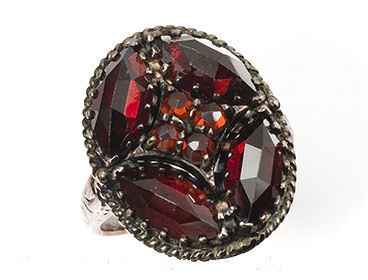 Sterling Victorian Style Rose Cut Bohemian Garnet Cluster Ring