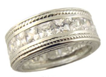 Vintage Style Sterling Silver 9mm Wide Princess Cut Cubic Zirconia Band