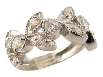 Sterling Silver Vintage Style Cubic Zirconia 9mm Foliate Band