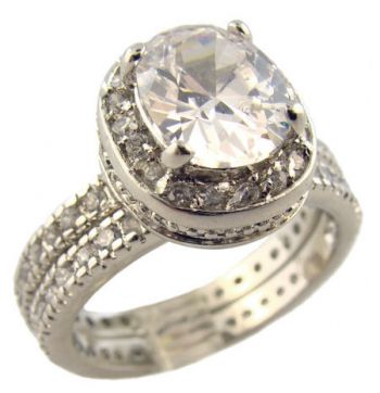 Sterling Silver Vintage Style 3.00ct Oval Cubic Zirconia Pave Set Halo Engagement Ring and Wedding Band