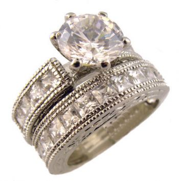 Sterling Silver Vintage Style 2 00ct Cz Engagement Ring And Wedding Band Set