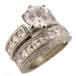 Sterling Silver Vintage Style 2.00ct CZ Engagement Ring and Wedding Band Set