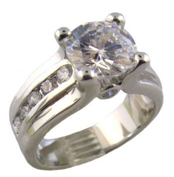 Sterling Silver Contemporary 2.00ct Cubic Zirconia Engagement Ring w/ Channel Set Accents