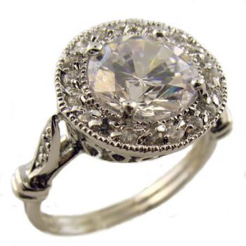 Sterling Silver Vintage Style 2 75ct Cubic Zirconia Pave