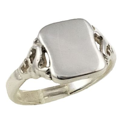 Antique Style Petite Scroll Signet Ring in Sterling Silver