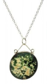 Antique Style Moss Agate Bezel Pendant in Sterling Silver