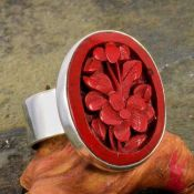 Vintage Style Carved Floral Cinnabar Ring in Sterling Silver, Size 8