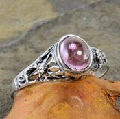 Antique Style Sterling Silver Filigree Pink Tourmaline Cabochon Ring