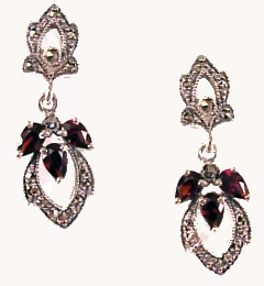 Art Deco Style Sterling Silver Marcasite & Gemstone Drop Earrings