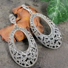 Vintage Style Sterling Silver Marcasite Oval Dangle Earrings