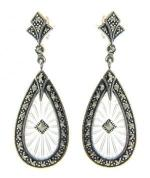 Art Deco Style Sterling Silver Starburst Crystal & Marcasite Drop Earrings