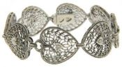 Art Deco Style Sterling Silver Heart Shaped Diamond Bracelet