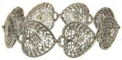 Art Deco Style Sterling Silver Filigree Heart Shaped Diamond Bracelet
