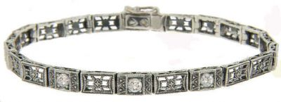 Art Deco Style Sterling Silver Filigree Link Gemstone Bracelet