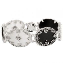 Art Deco Style Sterling Silver Filigree Tablet & Diamond Bracelet