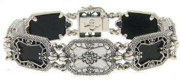 Art Deco Style Sterling Silver Filigree Tablet & Diamond Bracelet