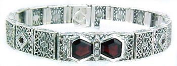 Art Deco Style Sterling Silver Filigree Link Fancy Gemstone and Diamond Bracelet