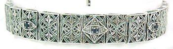 Art Deco Style Sterling Silver Filigree Link Gemstone and Diamond Bracelet