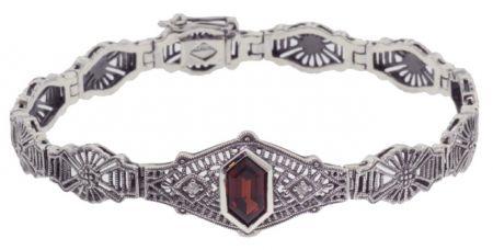 Art Deco Style Sterling Silver Filigree Link Fancy Shaped Gemstone & Diamond Bracelet