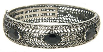 Art Deco Style Sterling Silver Filigree Gemstone Bangle Bracelet