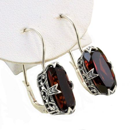 Vintage Style Sterling Silver Filigree 5.0ct Gemstone Earrings