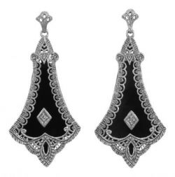 Art Deco Style Sterling Silver Filigree Black Onyx & Diamond Drop Earrings