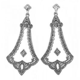 Art Deco Style Filigree Camphor Glass Crystal & Diamond Earrings | Sterling Silver