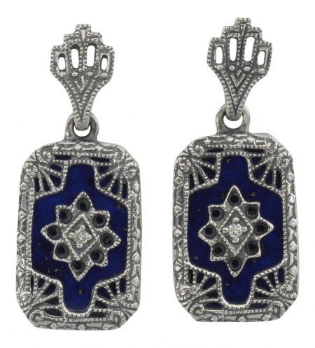 Art Deco Style Sterling Silver Filigree Lapis Lazuli & Diamond Drop Earrings