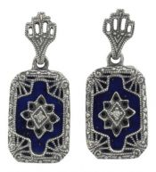Art Deco Style Sterling Silver Filigree Lapis Lazuli & Diamond Drop Earrings