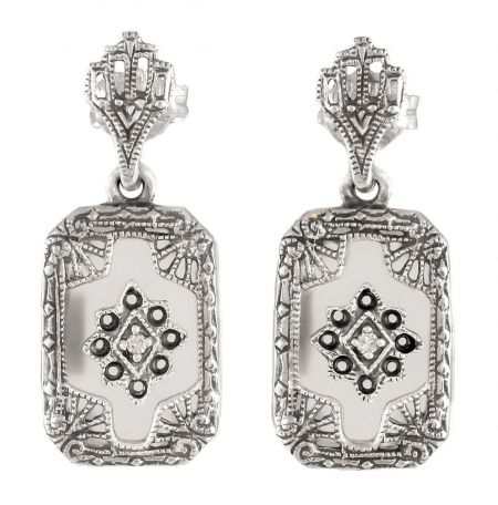 Art Deco Style Sterling Silver Filigree Frosted Crystal & Diamond Drop Earrings