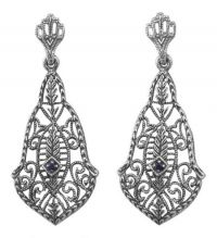 Antique Style Sterling Silver Filigree Sapphire Earrings