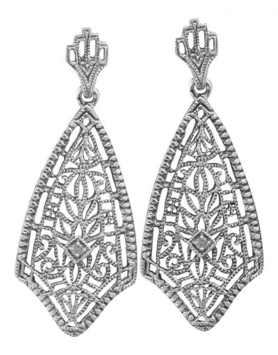 Antique Style Sterling Silver Filigree Diamond Dangle Earrings