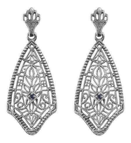 Antique Style Sterling Silver Filigree Sapphire Dangle Earrings