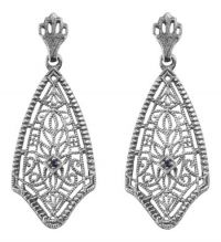 Antique Style Sterling Silver Filigree Sapphire Dangle Earrings