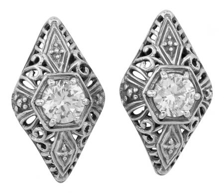 Antique Style Sterling Silver Filigree 1.50cttw Cubic Zirconia Earrings