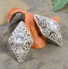 Antique Style Sterling Silver Filigree 1.40cttw Cubic Zirconia Earrings