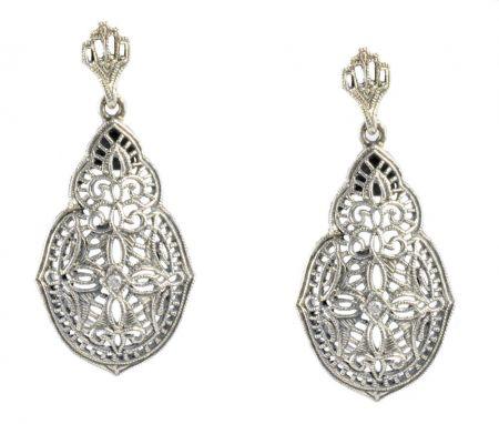 Antique Style Sterling Silver Filigree Diamond Earrings