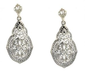 Antique Style Sterling Silver Filigree Diamond Earrings