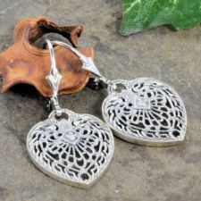 Antique Style Sterling Silver Heart Shaped Diamond Dangle Earrings